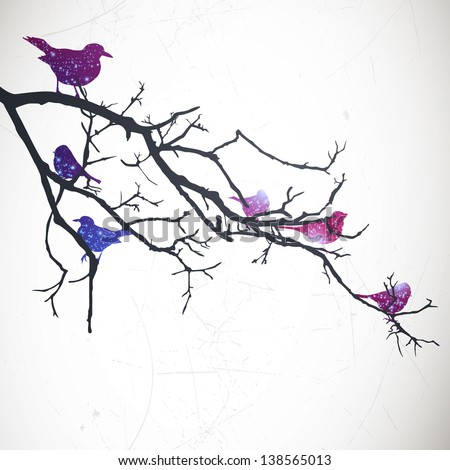 Vector Illustration of a Branch with Birds