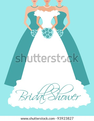 Vector illustration of a bride and two bridesmaids. Background, bride and each bridesmaid are grouped and placed on separate layers. See my portfolio for more wedding themed images. - stock vector