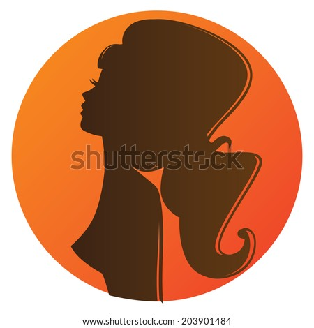 Vector illustration of a bronze girl silhouette