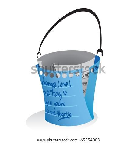 """Vector illustration of a """"bucketlist"""" symbolization. - stock vector"""