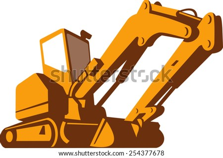 vector illustration of a bulldozer viewed from front side from a low angle on isolated white background done in retro style. - stock vector
