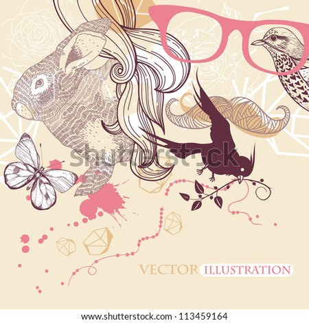 vector  illustration of a bunny and an abstract man with birds and butterflies - stock vector
