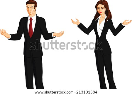 Vector illustration of a business couple with open arms gesture. - stock vector