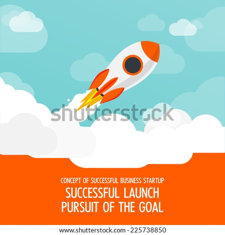 vector illustration of a business start-up rocket space exploration flat style design - stock vector