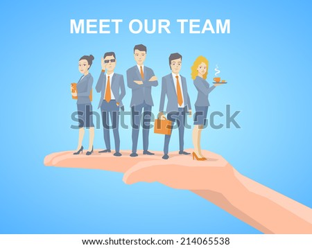 Vector illustration of a business team of young business people standing together on palm of the hand on blue background - stock vector