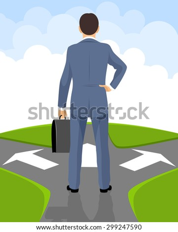 Vector illustration of a businessman makes a decision - stock vector
