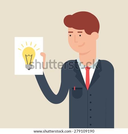 Vector illustration of a businessman presenting an innovative idea, flat style - stock vector