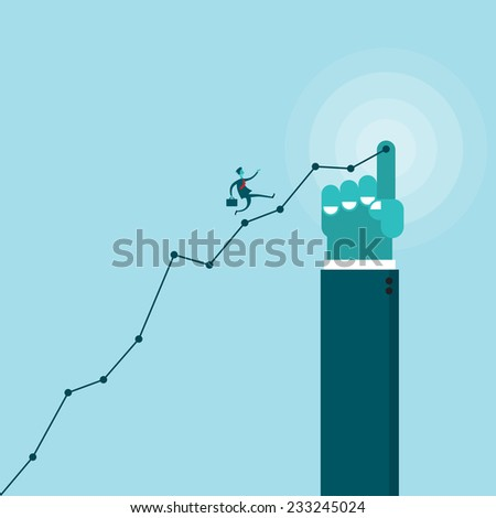 Vector illustration of a businessman running uphill on a line graphic pointed by a giant hand. - stock vector