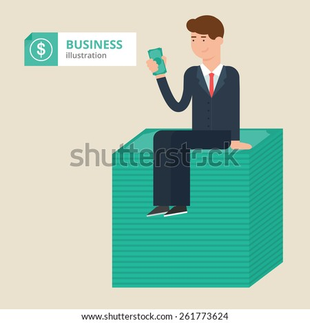 Vector illustration of a businessman sitting on a bundle of money, financial concept, success business - stock vector