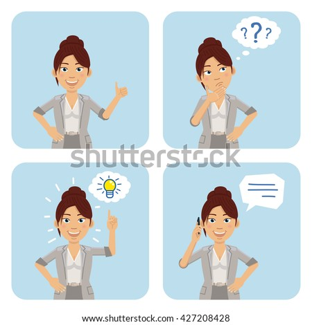 Vector illustration of a businesswoman in different situations - stock vector