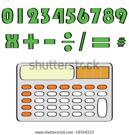 Vector illustration of a calculator and common mathematical numbers and symbols. For jpeg version, please see my portfolio. - stock vector