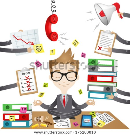 Vector illustration of a calm businessman sitting on his desk doing yoga with paperwork, stress and chaos surrounding him. Jpeg version also available in my gallery. - stock vector