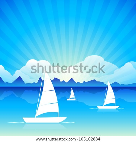 Vector illustration of a calm sea with boats on beautiful nature background. EPS 10 - stock vector