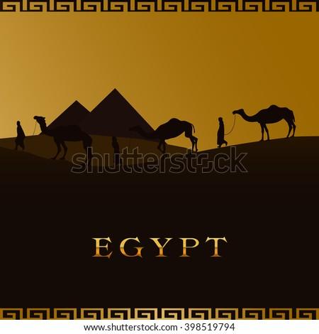 vector illustration of a camel caravan walking across a desert. egyptian pyramid silhouettes - stock vector