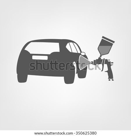 Vector illustration of a car body repair. Automotive concept useful for a pictogram, icon, logotype or signboard design.Transportation collection in gray color - stock vector