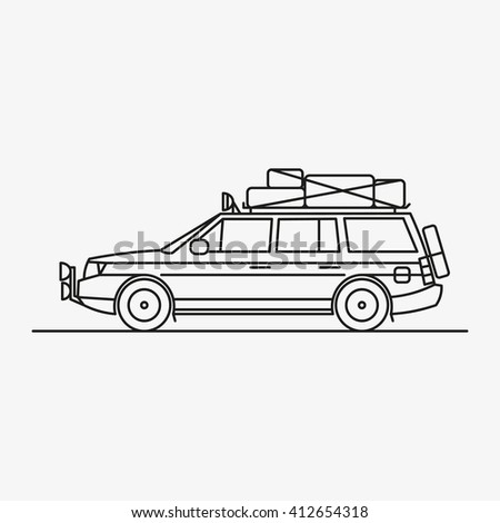 vector illustration of a car, car with Luggage travel by car, transportation, travel, vacation, Luggage on the roof, illustration, logo, illustration for the magazine, advertising