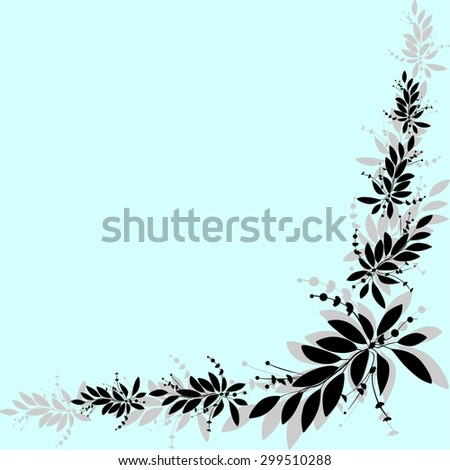 Vector illustration of a card with tropical elements of decor, framed by palm leaves on blue background. Seamless Pattern. - stock vector