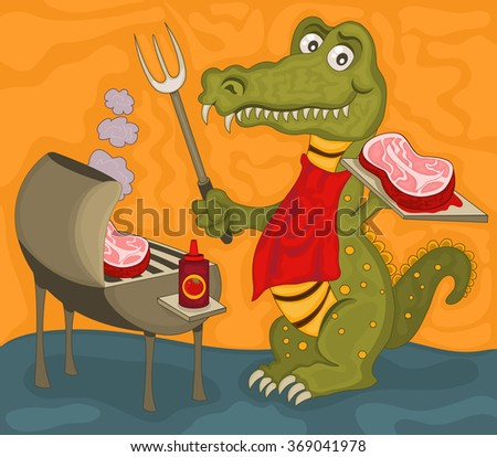 Vector illustration of a cartoon alligator with barbecue and a delicious steak. - stock vector