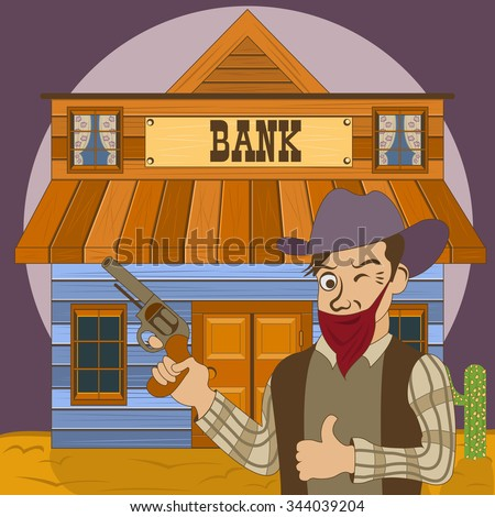 Vector illustration of a cartoon bank robber in front of the old western building. - stock vector