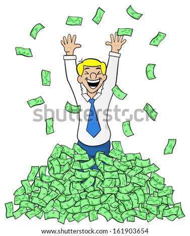 vector illustration of a cartoon business man with a pile of money - stock vector