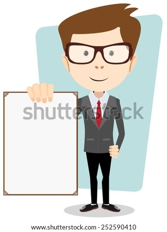 Vector illustration of a cartoon businessman explaining and pointing at blank white board . Stock vector illustration - stock vector