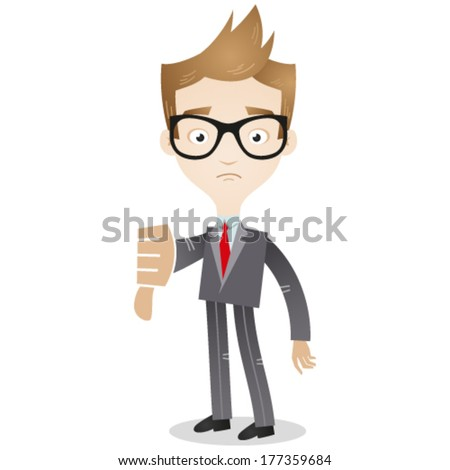 Vector illustration of a cartoon businessman looking sad and giving the thumbs down. - stock vector