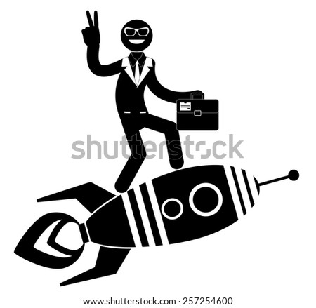 Vector illustration of a cartoon businessman on a rocket showing victory sign, pointing and showing directions. - stock vector