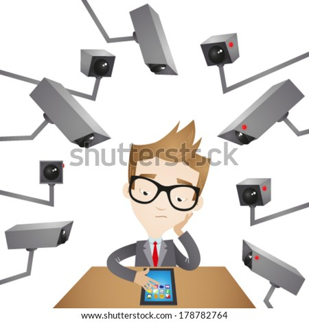 Vector illustration of a cartoon businessman sitting at his desk surrounded by surveillance cameras spying on him. - stock vector