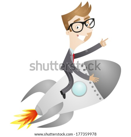 Vector illustration of a cartoon businessman sitting on a rocket pointing and showing directions. - stock vector