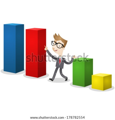 Vector illustration of a cartoon businessman walking and pointing at a colorful bar chart. - stock vector