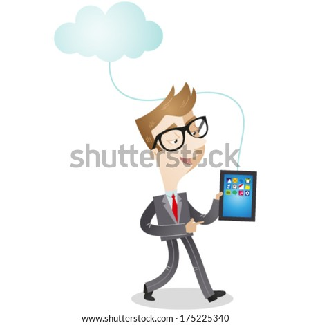 Vector illustration of a cartoon businessman walking with tablet pc which is connected to a cloud (JPEG also available). - stock vector