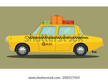 Vector illustration of a cartoon car in flat design - stock vector