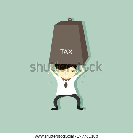 Vector illustration of a cartoon character: Businessman carrying heavy tax.  - stock vector