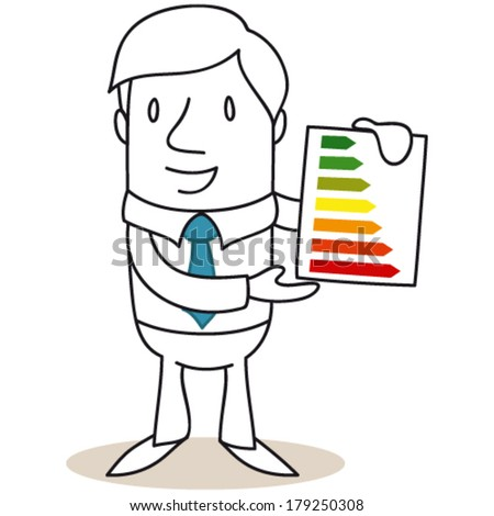 Vector illustration of a cartoon character: Businessman holding an energy consumption labeling scheme graphic. - stock vector