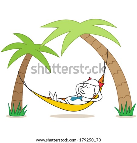 Vector illustration of a cartoon character: Relaxing businessman lying in hammock under palm trees. - stock vector