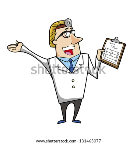 Vector illustration of a cartoon doctor with a medical chart clipboard.
