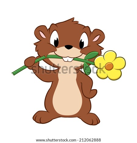 Vector illustration of a cartoon gopher devouring garden flower - stock vector