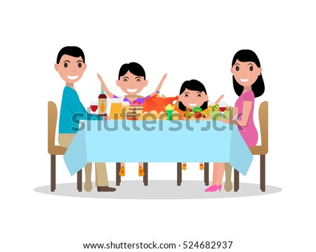 family dinner table clipart. vector illustration of a cartoon happy family at the festive dinner table. parents and kids table clipart h
