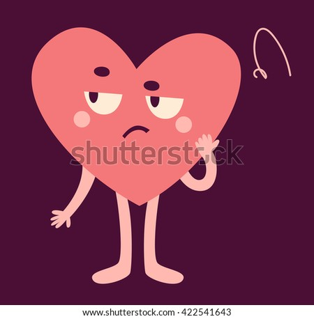 Vector illustration of a cartoon heart character looking upset.