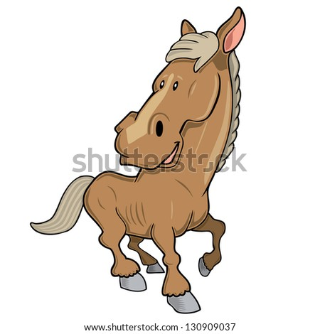Vector illustration of a cartoon horse in motion