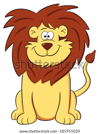 vector illustration of a cartoon lion on white