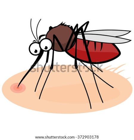 Vector illustration of a cartoon mosquito on human skin sucking blood. - stock vector