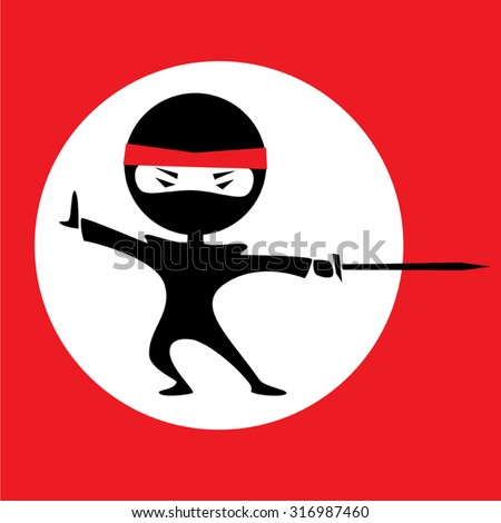 Vector illustration of a cartoon ninja holding a sword. Red background with a white circle. Black outfit.