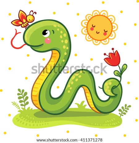 Vector illustration of a cartoon Snake and a butterfly on the sunny lawn. Cute Snake in vector.