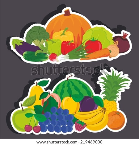 Vector illustration of a cartoon stickers of food vegetables and fruits - stock vector