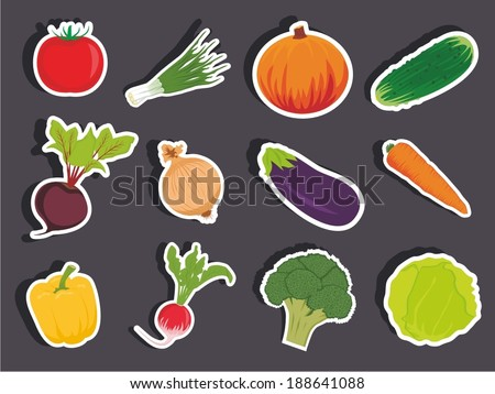 Vector illustration of a cartoon stickers of vegetables - stock vector