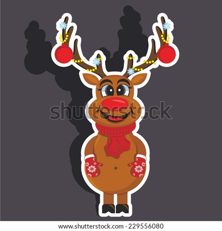 Vector illustration of a cartoon stickers set of isolated christmas object - Santa's deer - stock vector