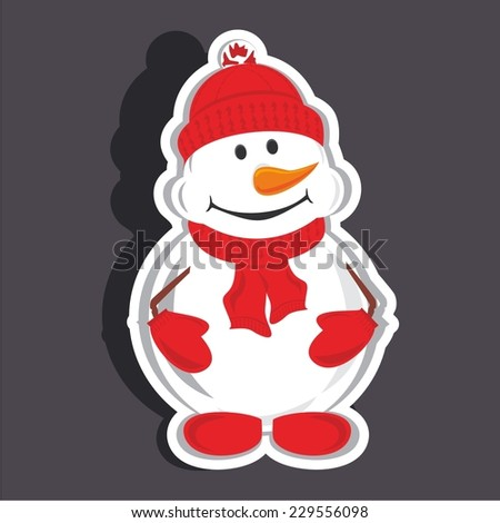 Vector illustration of a cartoon stickers set of isolated christmas object - snowman - stock vector
