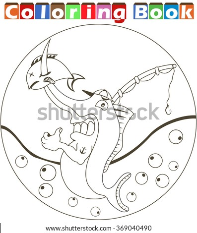 Vector illustration of a cartoon swordfish image for a coloring book - stock vector