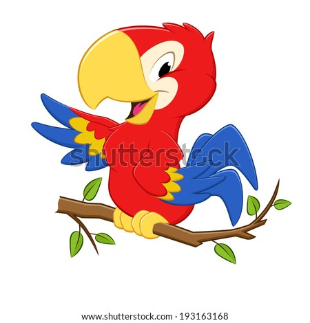 Vector illustration of a cartoon three colored parrot for design element - stock vector